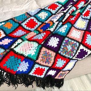 Vintage Handmade Crochet Granny Squares Blanket
